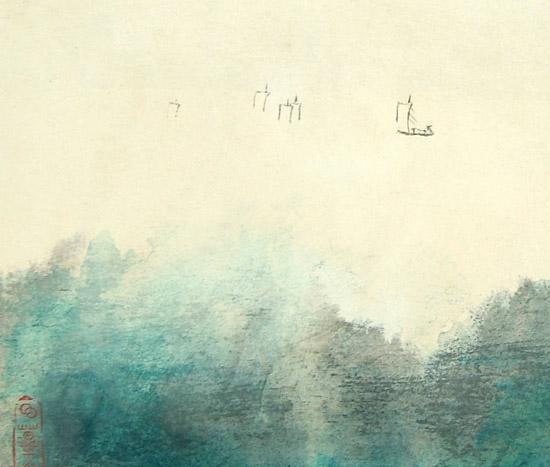 张大千青绿山水画-爱物琐记 人间聚散两依依图片