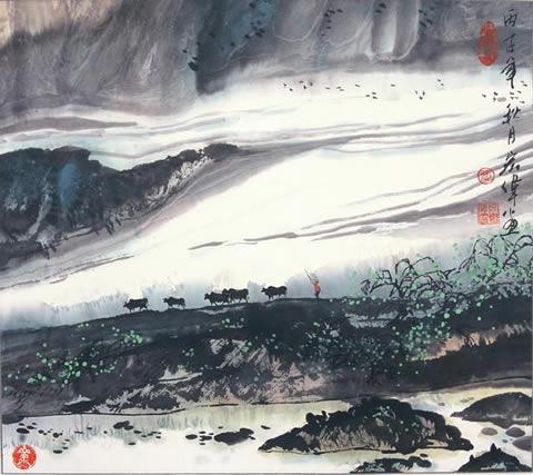 太行山 水墨风格背景图片-云南风格背景素材