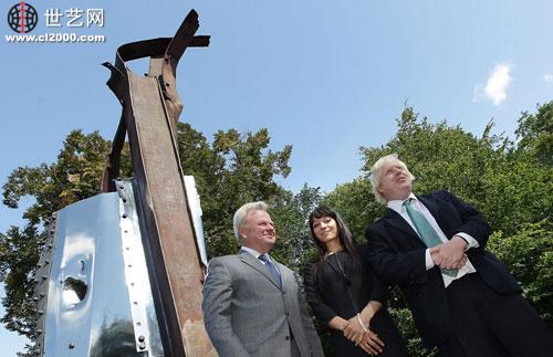 纪念9.11雕塑伦敦揭幕 取材世贸废墟