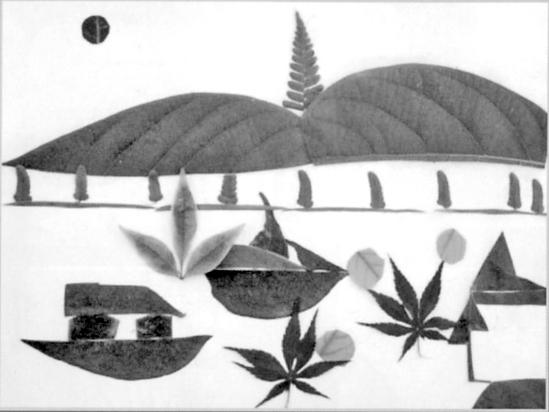 《西湖山水》(树叶拼贴画) 张梦伊 10岁