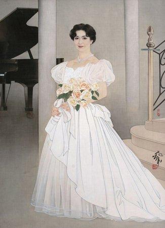 铅笔画 花卉 婚纱
