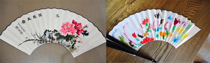 """""""传统的记忆——画扇面""""活动作品展示,左图为成人作品,右图为儿童作品图片"""