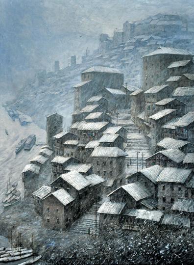 图为展出作品刘昌文的《山城雪》。主办方供图