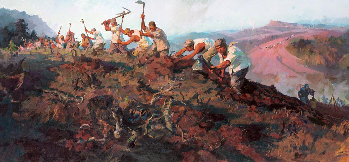 南泥湾大生产张自薿油画,105cm×220cm1959年中国国家博物馆藏