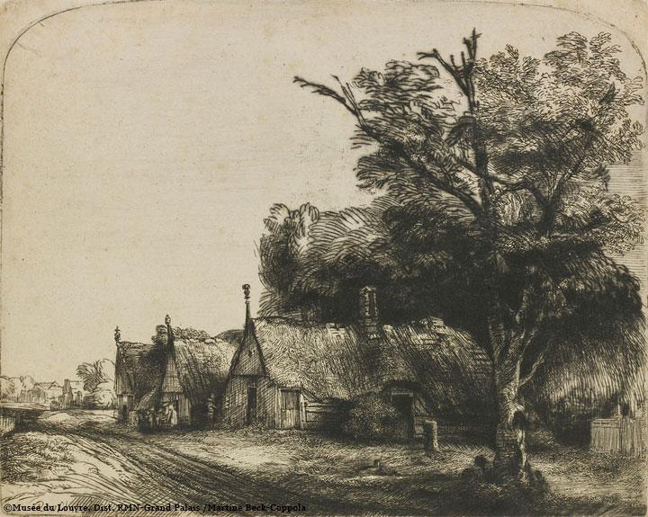 铜版画:三幢茅屋的风景画