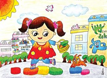 校园生活儿童画作品-课间休息